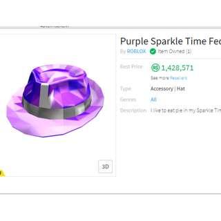 Roblox Purple Sparkle Time Fedora