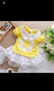 Yellow flower lace dress