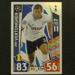 最新 17/18 歐聯 Match Attax Champions PRO11 - Jan VERTONGHEN #Tottenham Hotspurs 熱剌