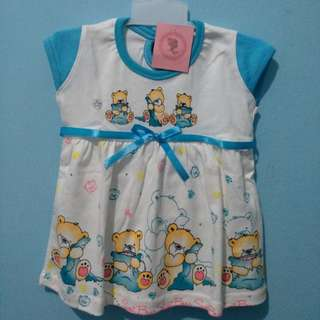 <new> longdress bayi sweet bear biru putih