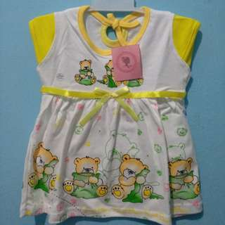 <new> longdress bayi sweet bear kuning putih
