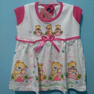 <new> longdress terusan bayi sweet bear pink stabilo putih