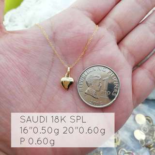 Buy 1 Get 1 18 karat saudi gold necklace with hearts pendant
