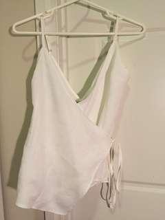 White textured/ linen wrap top