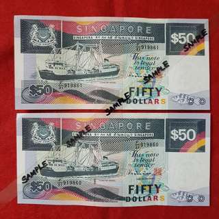 $50.00 SHIP.   2 PCES UNCIRCULATED & RUNNING NUMBERS.
