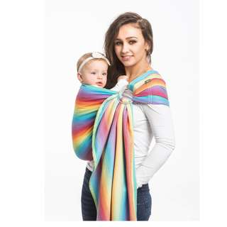 FREE Courier | LennyLamb Ring Sling - Little Herringbone Rainbow Light (Bamboo Blend)