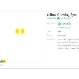 Roblox Yellow Glowing Eyes