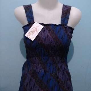 <new> longdress wanita + outter rompi batik biru coklat