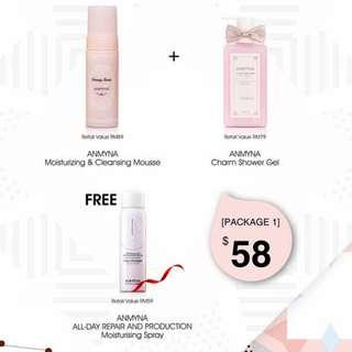 Anmyna Cleansing + Shower Gel =  Free  moisture Spray