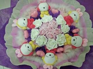 Handmade flower 🌷with rabbit 🐰