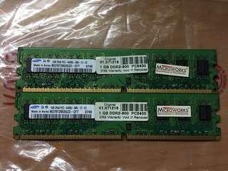 Samsung 1gb -2rx8 pc2-6400 ram電腦記憶體