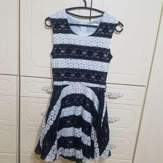 🚚 全新韓式黑白蕾絲洋裝