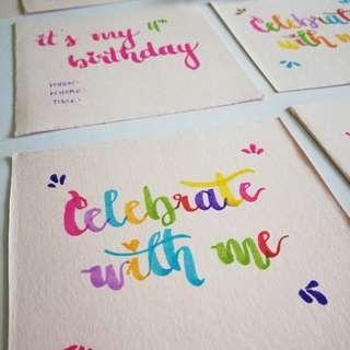 Personalized, handwritten invite