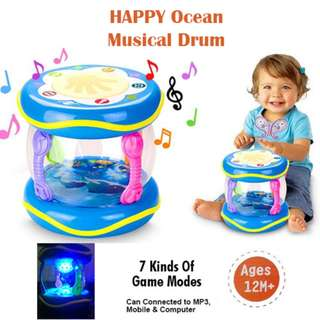 Happy Ocean Music Drum Touch Multi Functional Learning Drum For Babies MP3