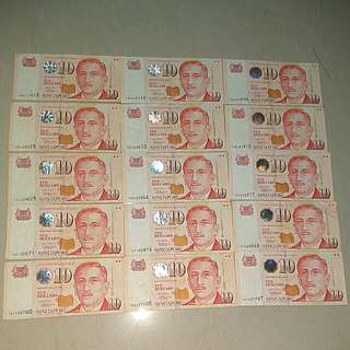 15 x $10 yusof ishak paper notes