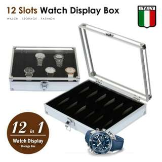 FREE POS Ready Stock Watch Display Aluminium 12 Slots Holder Case Storage Box
