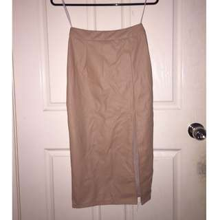 SHOWPO Nude Faux Leather Skirt