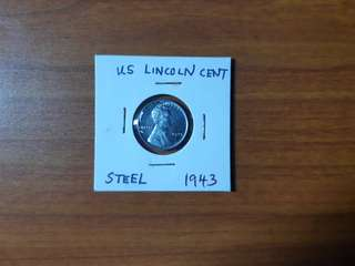 Rare 1943 United States Lincoln Cent(steel)
