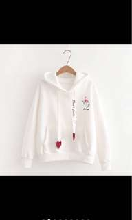 [PO] Hot Sell Woman Flamingo Embroidery Hoodie Sweater Korean Casual