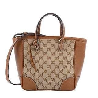 Authentic Gucci Bree Small GG Canvas Tote Bag Brown