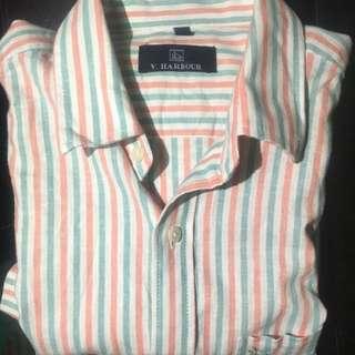 pink and light green striped short sleeve shirt