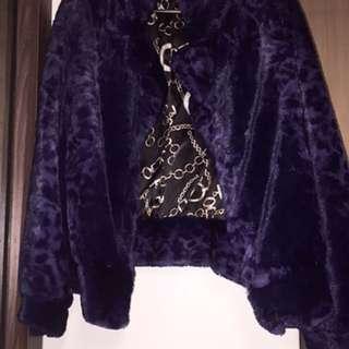 巴洛克 宮廷 紫 豹紋 絨毛 外套