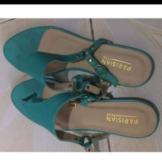 Parisian teal sandals