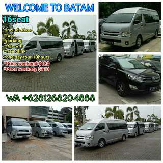 BATAM TOUR and TRANSPORTATION,includ driver, fuel, free wifi, drink, fast respond +6281268204888