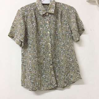 Japan vintage pattern printed shirt short sleeves top 日本 復古 圖案 短袖上衣 襯衫 恤衫