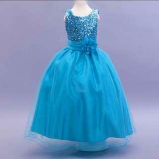 Sky Blue Long Gown Bridesmaids Children Dress Flower Girls Wedding Dress