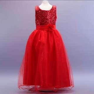 Chilli Red Long Gown Bridesmaids Children Dress Flower Girls Wedding Dress