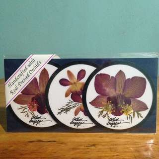 Hancrafted 3 Coasters With Real Pressed Orchids