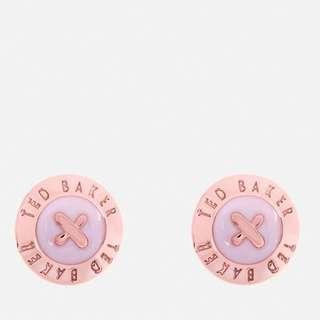 (代購)TED BAKER WOMEN'S EISLEY ENAMEL MINI BUTTON EARRINGS - ROSE GOLD/BABY PINK