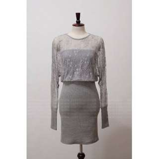 BN 2 Pieces Joint Lace Design Batwing Dress
