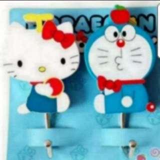 In Stock Doramon And Hello Kitty Design Wall Hanger 1 Set