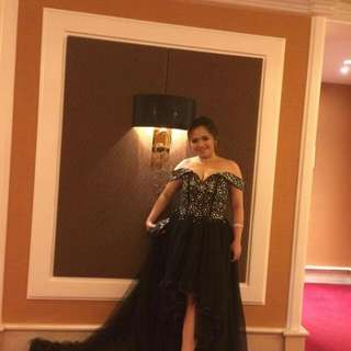 Black high low gown for rent.