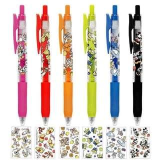 zebra japan cute model disney winnie the pooh / donald & daisy / chip n dale / alien / alice / mickey n minnie sarasa 0.5  pen