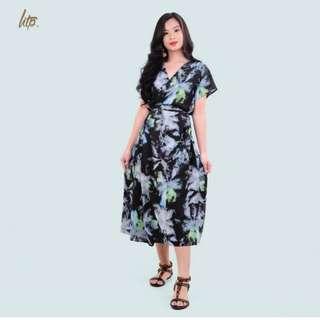 HTP Dye Printed Wrap Maxi Dress