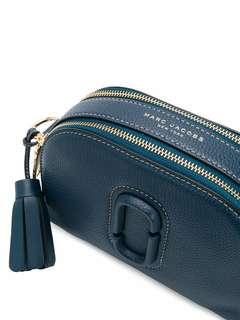 Auth Marc Jacobs Women's Blue Shutter Leather Crossbody Bag