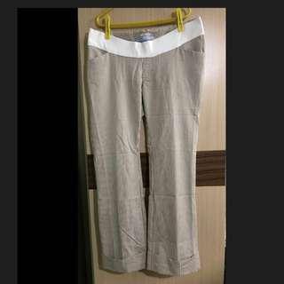 長褲 孕婦裝 孕婦褲 咖啡色 大尺碼 白色 線條 直筒長褲 喇叭 低腰