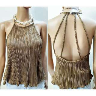 Strappy Back Pleated Top
