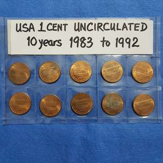 USA 1 CENT UNCIRCULATED.   10 YEARS 1983 TO 1992.
