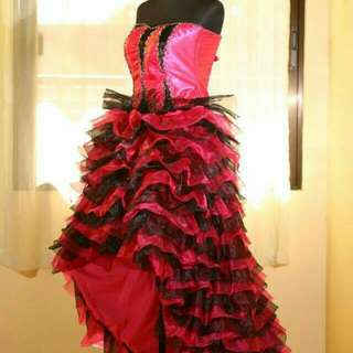 Black and Pink Long back gown