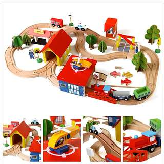 69pcs Wooden Train Railway Tracks Vehicles Building Blocks Construction Toy Set