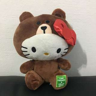 Hello Kitty x Line Friends Brown Plush Toy