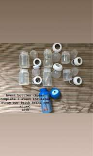 Pre-loved Avent bottles & Insulated Straw Cup