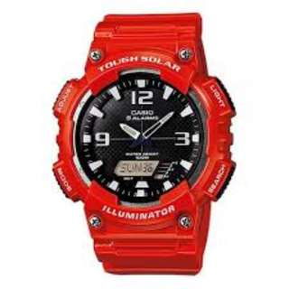 Casio AQ-S810WC-4A Tough Solar Red Watch For Men - COD FREE SHIPPING