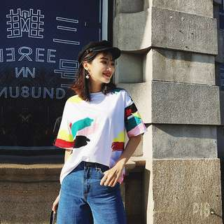 [PO] Korean Paint Detailed T Shirt