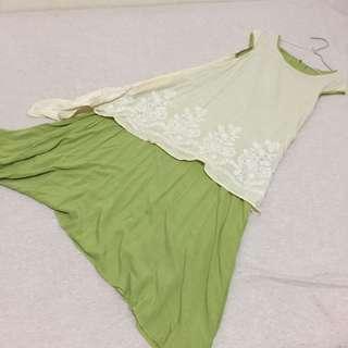 🚚 氣質款 草綠配色 連身裙