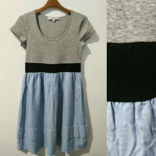 Grey Blue Casual Dress
